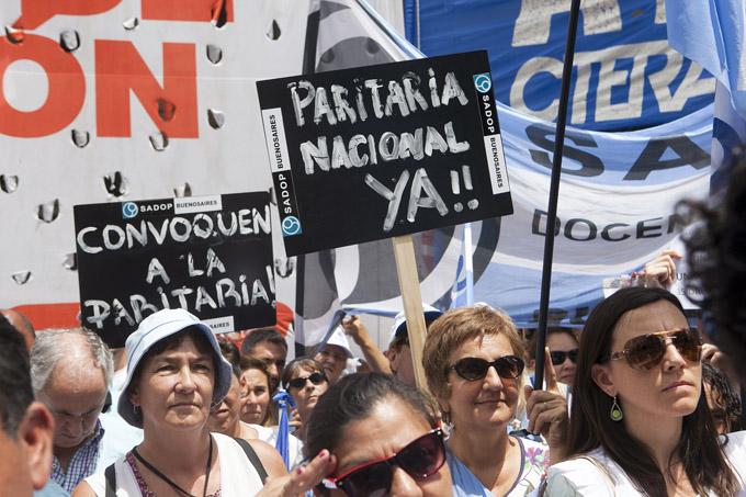 Los sindicatos docentes nacionales se movilizaron al Congreso