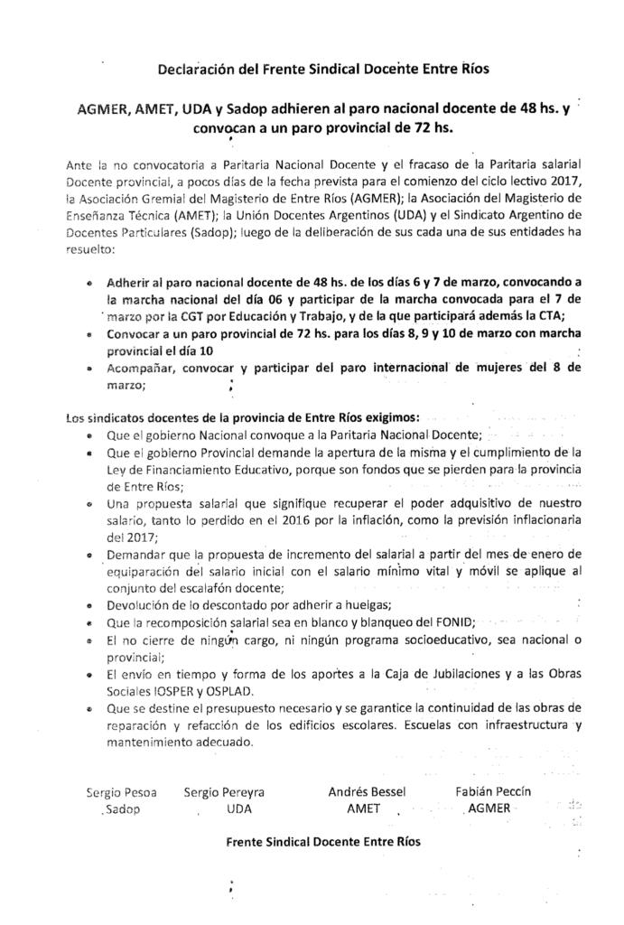 El Frente Sindical Docente Entre Ríos convocó a un paro de 72 hs.