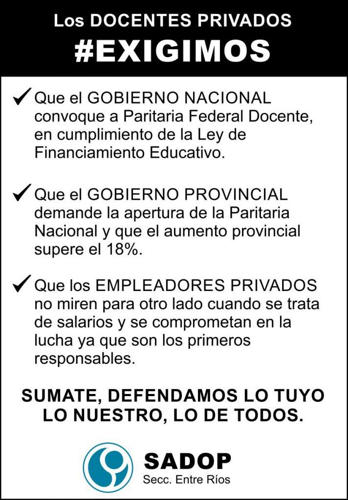 SADOP definió paros el 21 y 22 de marzoy volanteada en toda la provincia mañana