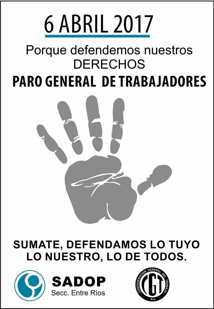SADOP convoca al Paro General del 6 de abril