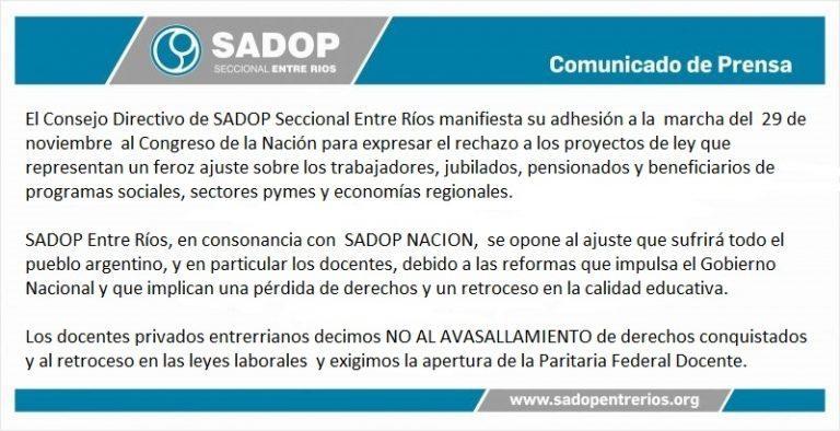 SADOP Entre Ríos manifiesta su adhesión a la marcha del 29 de noviembre.