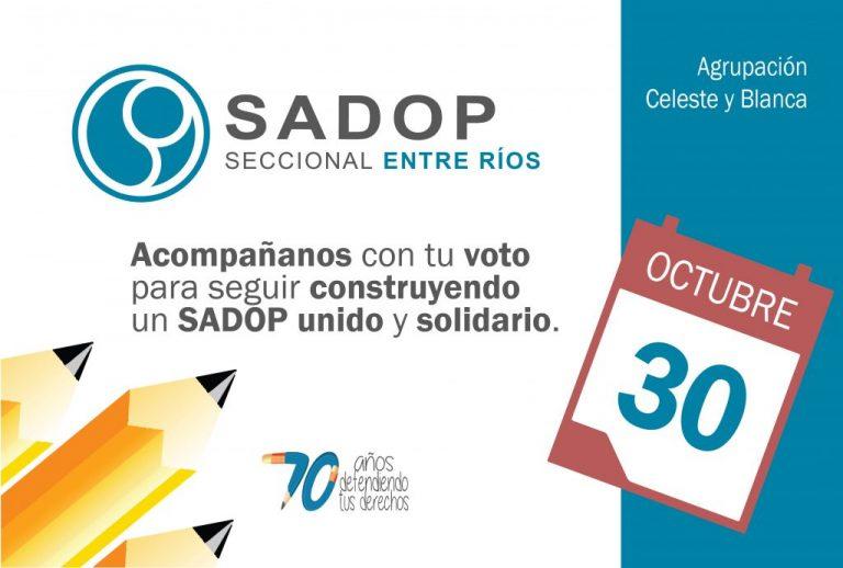 El 30 de Octubre SADOP elige sus representantes