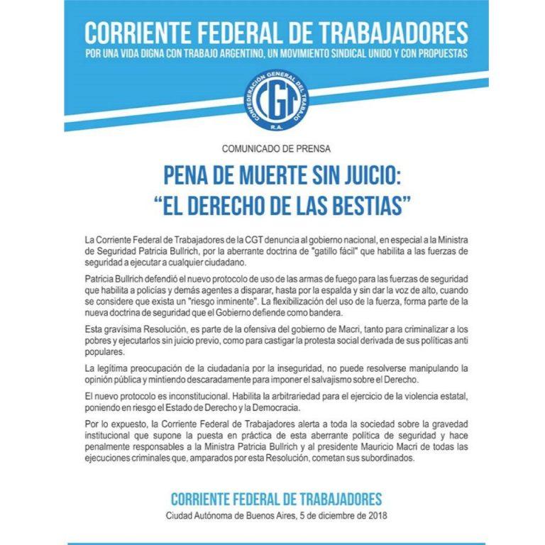 CFT Argentina alertó sobre la puesta en práctica del protocolo de seguridad