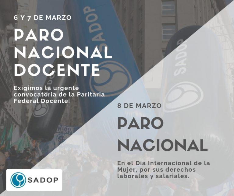 SADOP convoca a PARO NACIONAL el 6, 7 y 8 de marzo