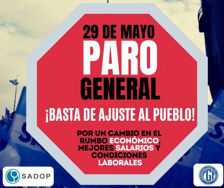 SADOP convoca al Paro General del 29 de mayo
